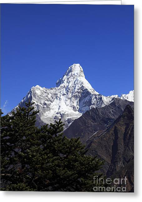 Mt Everest Base Camp Greeting Cards - Ama Dablam Snow Capped mountain Himalayas Nepal Greeting Card by Dave Porter