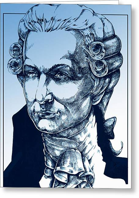 Salzburg Drawings Greeting Cards - Amadeus Mozart in blue Greeting Card by Derrick Higgins