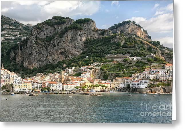 Italian Riveria Greeting Cards - Amalfi Coast Greeting Card by Kate McKenna