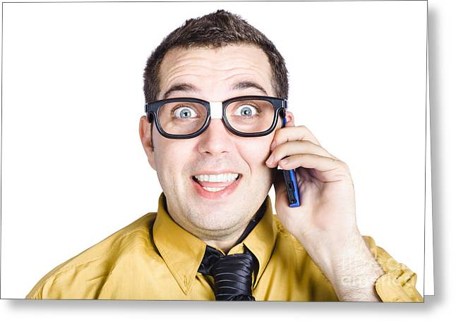 Cellphone Greeting Cards - Amazed businessman on phone call Greeting Card by Ryan Jorgensen
