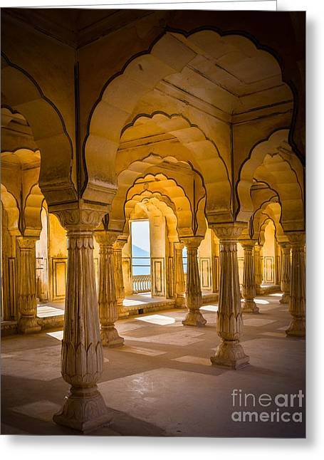 Jaipur Greeting Cards - Amber Fort Arches Greeting Card by Inge Johnsson