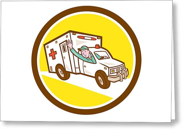 Ambulance Greeting Cards - Ambulance Emergency Vehicle Cartoon Greeting Card by Aloysius Patrimonio