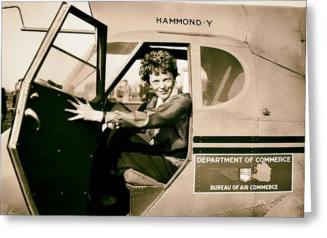 Flyer Greeting Cards - Amelia Earhart 1936 Greeting Card by Mountain Dreams