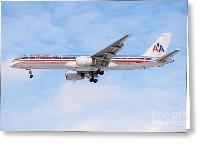 Descend Greeting Cards - Amercian Airlines Boeing 757 Airplane Landing Greeting Card by Paul Velgos