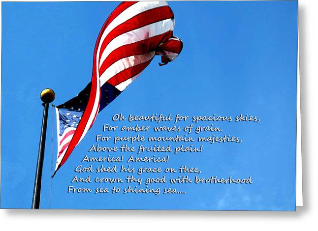 .freedom Mixed Media Greeting Cards - America The Beautiful - US Flag By Sharon Cummings Song Lyrics Greeting Card by Sharon Cummings