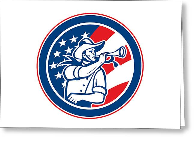 Stripes. Blowing Greeting Cards - American Cavalry Soldier Blowing Bugle Circle Greeting Card by Aloysius Patrimonio