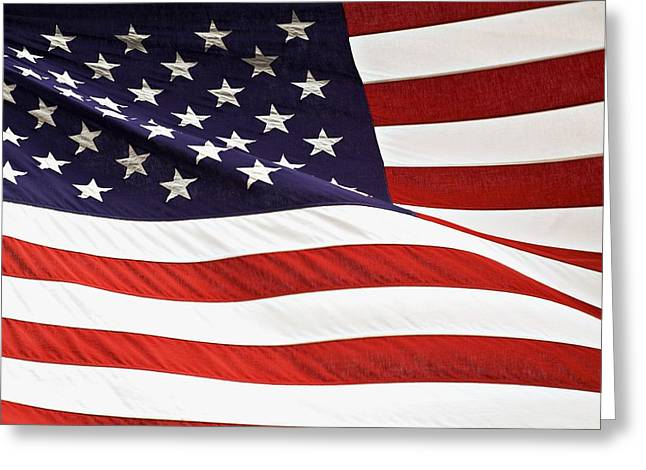 Maps Globes And Flags Greeting Cards - American Flag Greeting Card by Chris Knorr