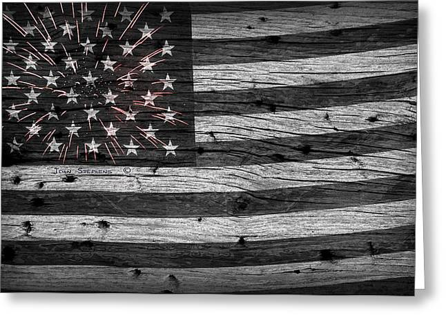 Flag Of Usa Greeting Cards - American Flag Fireworks Greeting Card by John Stephens