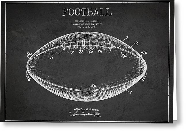 American Football Patent Drawing From 1939 Greeting Card by Aged Pixel