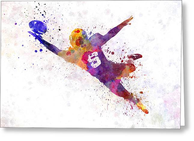 American Football Paintings Greeting Cards - American Football Player Catching Ball  Silhouette Greeting Card by Pablo Romero