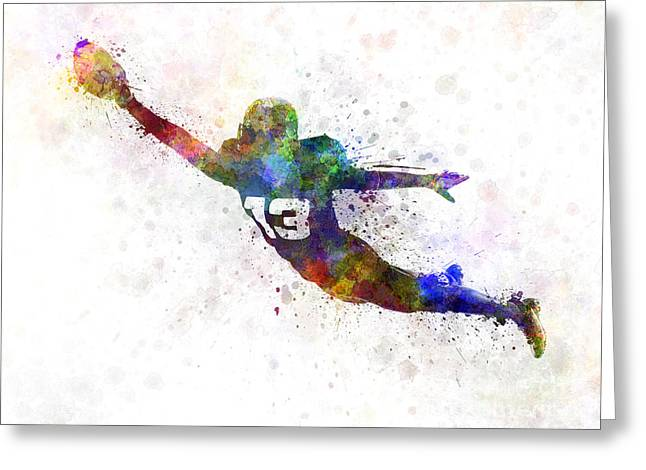 American Football Paintings Greeting Cards - American Football Player Scoring Touchdown Greeting Card by Pablo Romero