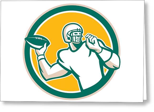 Throwing Digital Greeting Cards - American Football QB Throwing Circle Retro Greeting Card by Aloysius Patrimonio