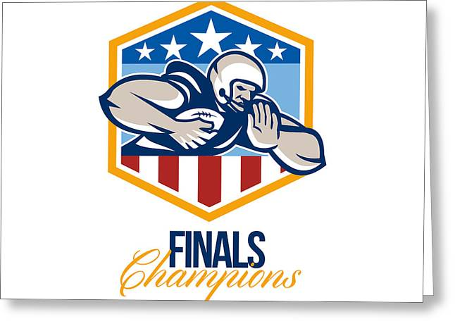 American Football Running Back Finals Champions Greeting Card by Aloysius Patrimonio