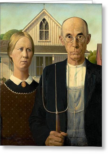 Grant Wood Greeting Cards - American Gothic Greeting Card by Grant Wood