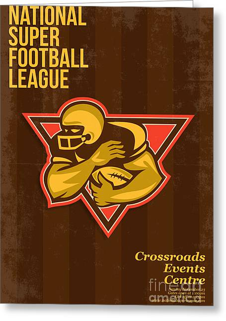 Tailback Greeting Cards - American National Super Football League Poster Greeting Card by Aloysius Patrimonio