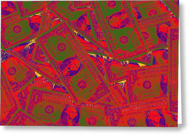Paper Money Greeting Cards - American One Dollar Bills Pop Art Greeting Card by Keith Webber Jr