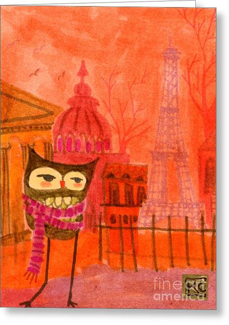 Bridal Shower Greeting Cards - American Owl in Paris Greeting Card by Kate Cosgrove
