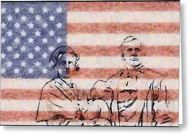 National Anthem Greeting Cards - American Patriots Greeting Card by Dan Sproul