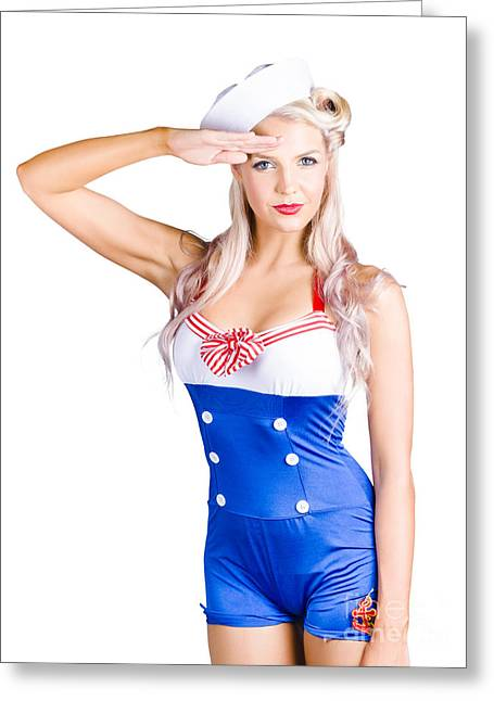 American Pinup Girl Sailor Saluting A Yes Sir Greeting Card by Jorgo Photography - Wall Art Gallery