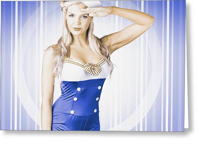 Bustier Greeting Cards - American pinup poster girl in military uniform Greeting Card by Ryan Jorgensen