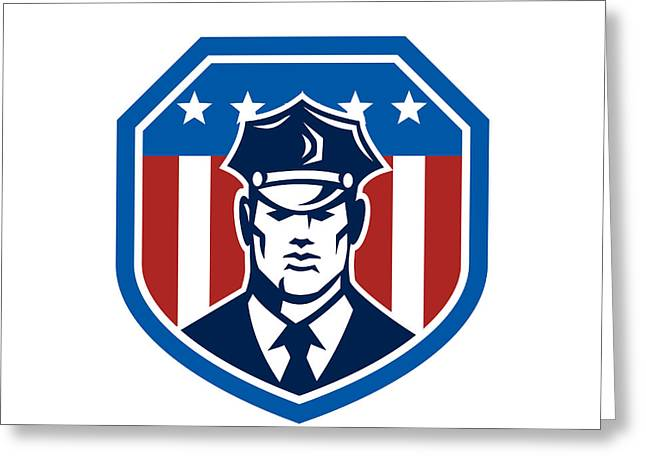 Police Officer Greeting Cards - American Security Guard Flag Shield Retro Greeting Card by Aloysius Patrimonio