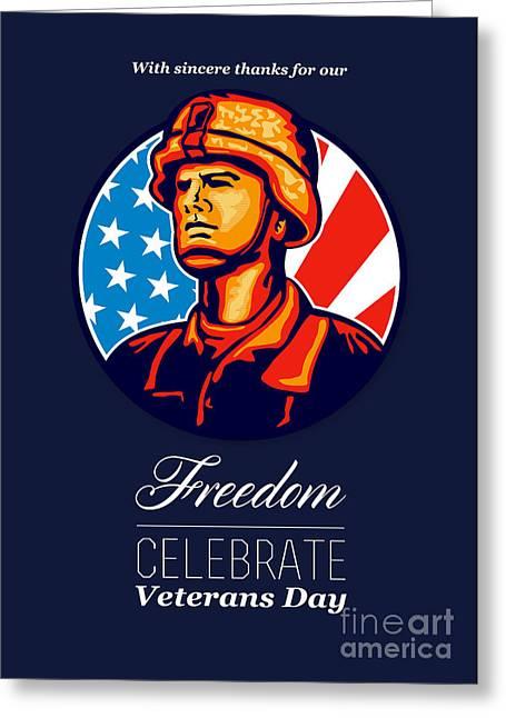 Serviceman Greeting Cards - American Veteran Serviceman Greeting Card Greeting Card by Aloysius Patrimonio