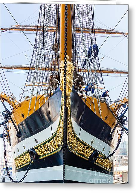 Ship In Sepia Photographs Greeting Cards - Amerigo Vespucci full-rigged Italy Greeting Card by Maslyaev Yury