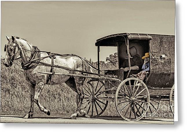Horse Buggy Greeting Cards - Amish Boy Tips Hat Greeting Card by Robert Frederick