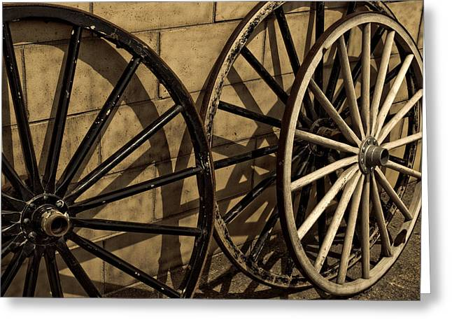 Amish Photographs Greeting Cards - Amish Buggy Wheels Greeting Card by Lee Ann Terilla