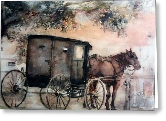 Horse And Buggy Paintings Greeting Cards - Amish Sunday Greeting Card by Rose Sinatra