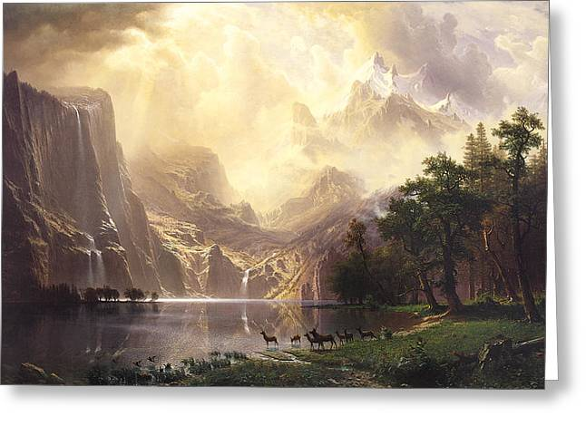 Old Masters Greeting Cards - Among The Sierra Nevada Mountains California Greeting Card by Albert Bierstadt