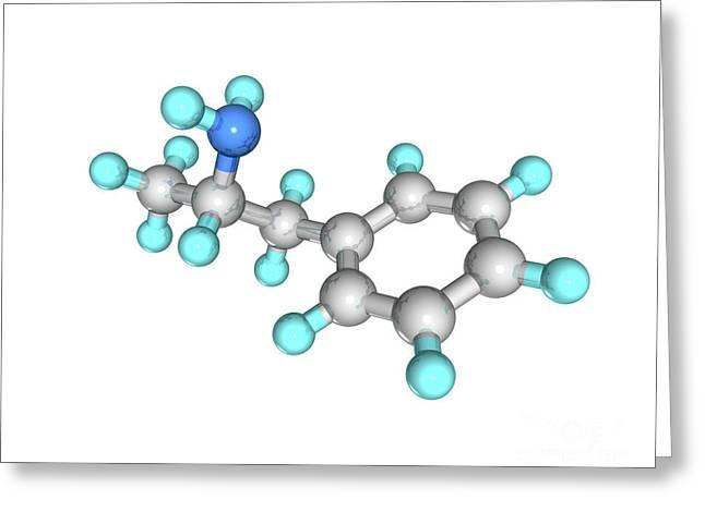 Adhd Greeting Cards - Amphetamine Drug Molecule Greeting Card by Laguna Design