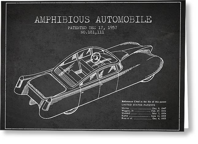 Cord Greeting Cards - Amphibious automobile Patent from 1957 Greeting Card by Aged Pixel