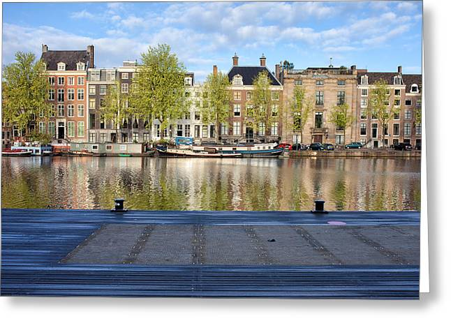 Old Home Place Greeting Cards - Amstel River in the City of Amsterdam Greeting Card by Artur Bogacki