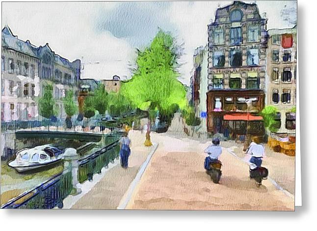 Enjoying Greeting Cards - Amsterdam Streets 1 Greeting Card by Yury Malkov