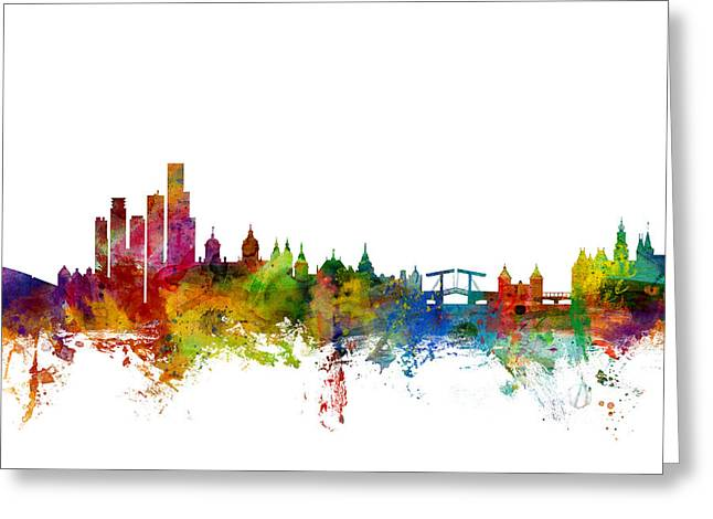 Holland Greeting Cards - Amsterdam The Netherlands Skyline Greeting Card by Michael Tompsett