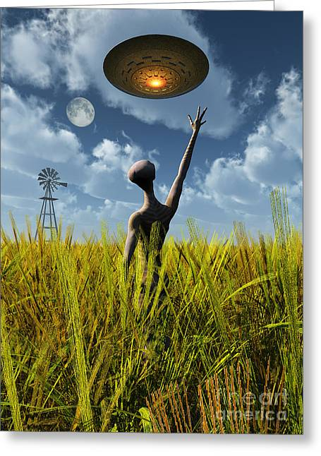 Grey Clouds Greeting Cards - An Alien Being Directing A Ufo Greeting Card by Mark Stevenson