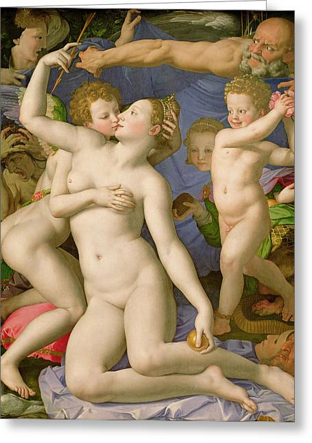 Disturbing Greeting Cards - An Allegory with Venus and Cupid Greeting Card by Agnolo Bronzino