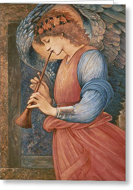 Gold Angel Greeting Cards - An Angel Playing a Flageolet Greeting Card by Sir Edward Burne-Jones