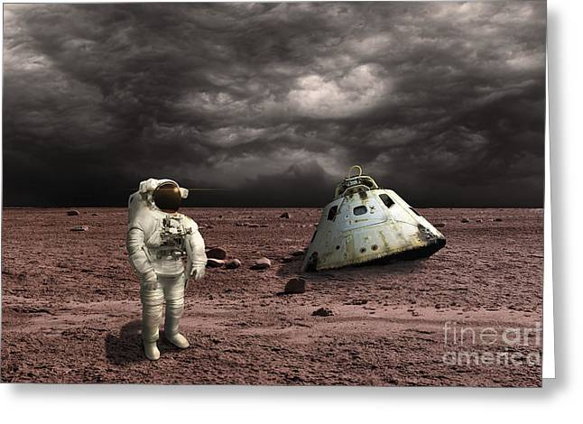 Ominous Sky Greeting Cards - An Astronaut Surveys His Situation Greeting Card by Marc Ward