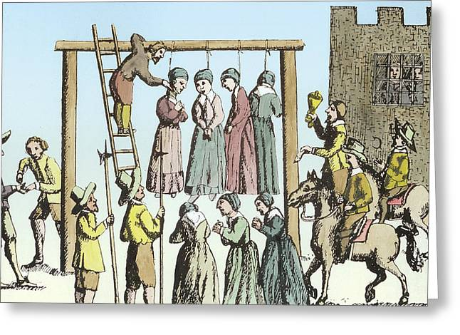 Prisoner Paintings Greeting Cards - An Execution of Witches in England Greeting Card by English School