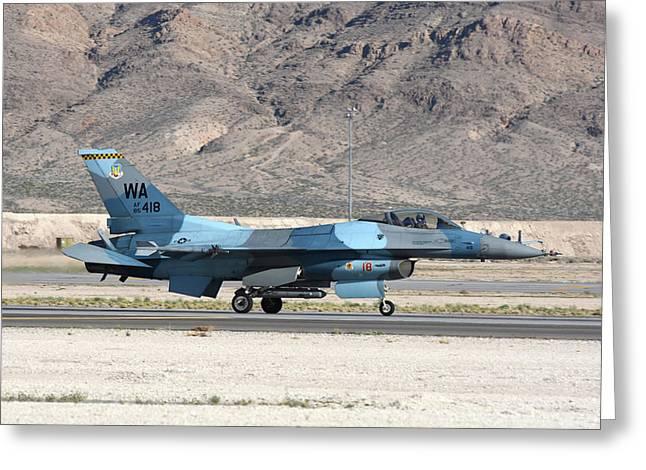 An F-16c Aggressor Jet Landing Greeting Card by Riccardo Niccoli