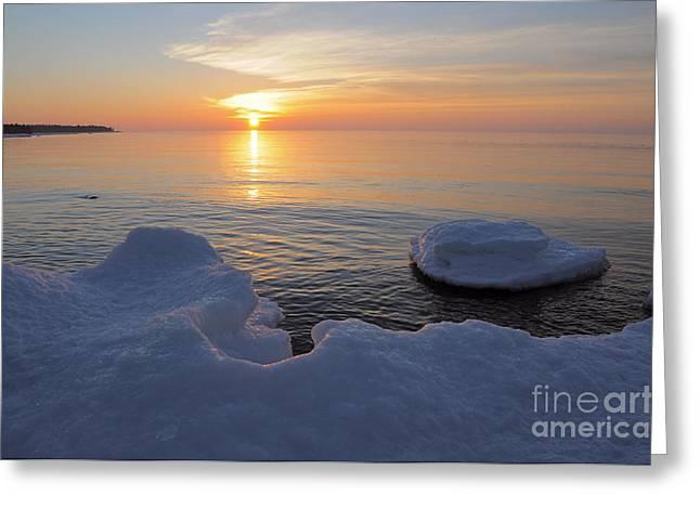An Icy  Superior Sunrise Greeting Card by Sandra Updyke