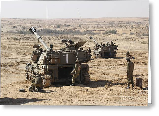 Tank Battalions Greeting Cards - An Israel Defense Force Artillery Corps Greeting Card by Ofer Zidon