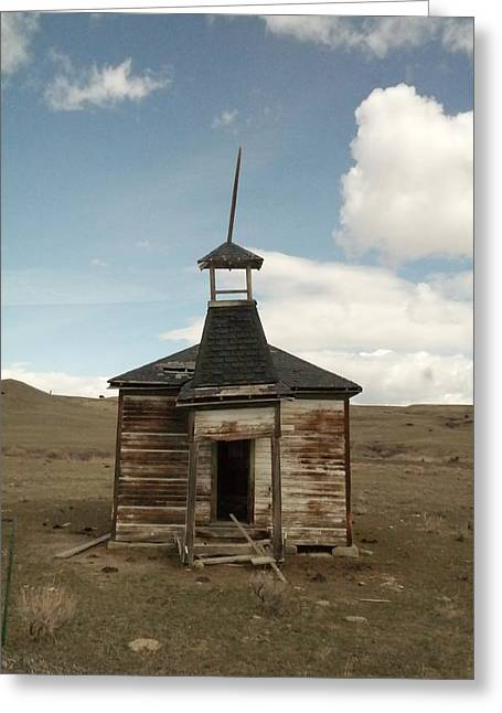 Abandoned School House. Greeting Cards - An Old Montana School House  Greeting Card by Jeff  Swan