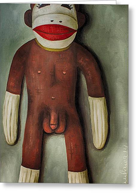 Testicle Greeting Cards - Anatomically Correct Male Sock Monkey Greeting Card by Leah Saulnier The Painting Maniac
