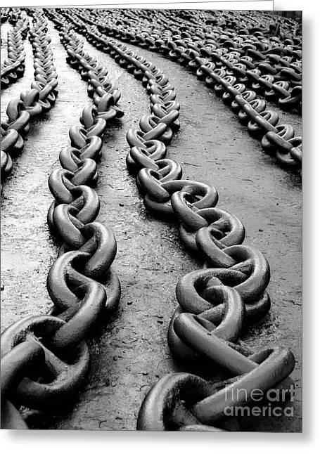 Chain-ring Greeting Cards - Anchor chain Greeting Card by Sinisa Botas