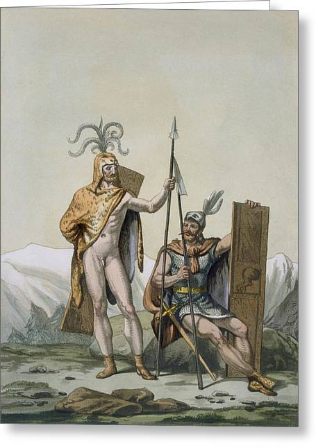 Leopard Skin Greeting Cards - Ancient Celtic Warriors Dressed Greeting Card by Italian School