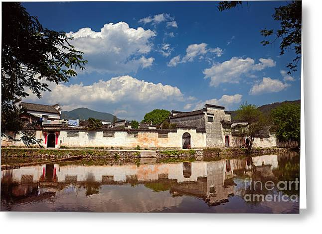 Chinese Ethnicity Greeting Cards - Ancient Chinese village  Greeting Card by Fototrav Print