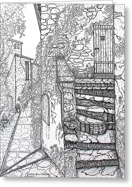 Stepping Stones Drawings Greeting Cards - Ancient Crumbling Stone Steps Black and White Greeting Card by S AshleyAnn Goforth